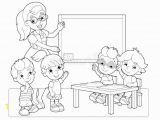 Classroom Coloring Pages for Kids Cartoon Scene with Children and Teacher In the Classroom