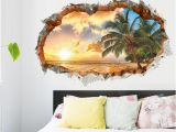 Clearance Wall Murals Sunset Sea Beach Wall Decals Decorative Stickers Living Bedroom Home