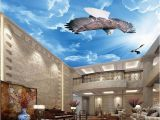 Cloud Murals Ceilings Blue Sky and White Clouds Eagle 3d Ceiling Mural Wallpaper