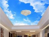 Cloud Murals Ceilings Custom 3d Wallpaper Blue Sky and White Clouds Ceiling Mural