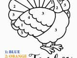 Color by Number Turkey Coloring Sheet Number Coloring Worksheets for Kindergarten Hd Football