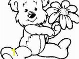 Color Pages Teddy Bear Bear and Flower Coloring Page