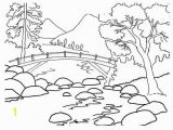 Coloring Page Of A River African Woman In the Background Of A Mountain Landscape Coloring