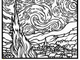 Coloring Pages Art Masterpieces Free Coloring Page Coloring Adult Van Gogh Starry Night Large