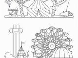 Coloring Pages Circus Tent Vergnügungspark Stadtlandschaft Mit Karussells Achterbahn