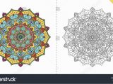 Coloring Pages for Adults Flowers Antistress Coloring Page Adults Flower Mandala Stock