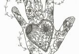Coloring Pages for Adults Zentangle Hand and Heart