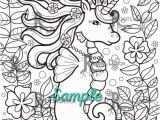 Coloring Pages for Gel Pens Instant Download Coloring Page Cute Sea Unicorn Doodle