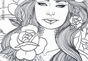 Coloring Pages for Girls Pdf Beautiful Tattooed Lady Adult Coloring Page Instant