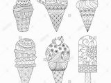 Coloring Pages for Ice Cream Zentangle Ice Cream Set for Coloring Book for Adult and