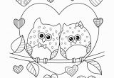 Coloring Pages for Kids/printables Valentine S Day Owls In Love with Hearts Coloring Page • Free Printable