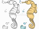 Coloring Pages for Ocean Animals Ocean Wild Life Coloring Hand Drawn Sea Horse and Shell