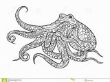 Coloring Pages for Ocean Animals Octopus Coloring Book for Adults Vector Stock Vector