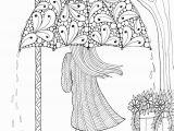 Coloring Pages for Older Adults Umbrella Girl