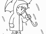 Coloring Pages for Rainy Days Boy with His Umbrella and Rain Jacket Under the Spring Rain