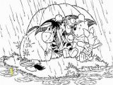Coloring Pages for Rainy Days Winnie the Pooh and His Friends are Under Umbrella Enjoying