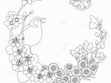 Coloring Pages for Spring Flowers Spring Floral Elegant Wreath Coloring Page Stock