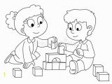 Coloring Pages for Young toddlers toddler Boy and Girl Playing Two Cute Children Playing with