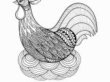 Coloring Pages Free Printable Rooster Hand Drawing Chicken In Nest for Adult Anti Stress