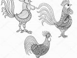 Coloring Pages Free Printable Rooster Vector Set Cocks Roosters New Year 2017 Symbol Zentangle