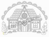 Coloring Pages Gingerbread Houses Printable Gingerbread House Christmas Adult Coloring Page