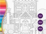 Coloring Pages Gingerbread Houses Printable Weihnachten Färbung Seiten Lebkuchenhaus Druckbare Malvorlagen Für Erwachsene Festliche Download Xmas Färbung Druck Färbung Winter