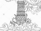 Coloring Pages Lighthouse Free Printable Hand Drawn Doodle Outline Lighthouse Decorated with Floral