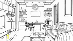Coloring Pages Living Room Living Room with A Luminous Ball Coloring Page