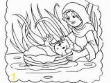 Coloring Pages Of Miriam and Baby Moses Moses Miriam Exodus Baby Child Children Kid Girl Water