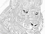 Coloring Pages Of Tiger Cubs Lion Coloring Pages for Adults Adult Coloring Page Tiger Zentangle
