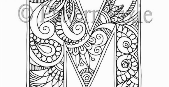 "Coloring Pages Printable Letter M Adult Colouring Page Alphabet Letter ""m"""