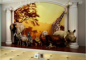 Commercial Wall Murals Kids Wall Paper Sunset forest Animals Nature Wallpaper Mural