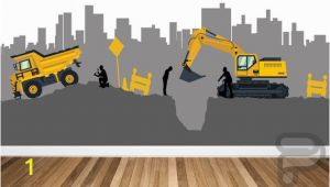 Construction Site Wall Mural Construction Site Wall Decal Boys Wall Mural Digger Machine Mural