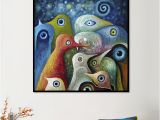 Contemporary Mural Artists Animal Single Painting Multi Color Abstract Square Birds Canvas