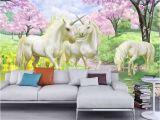Contemporary Wall Decals Murals 3d Custom Wallpaper Unicorn Sakura Wallpaper Fantasy