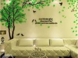Contemporary Wall Decals Murals Creative Green Tree and Bird Pattern Crystal Acrylic 3d Wall