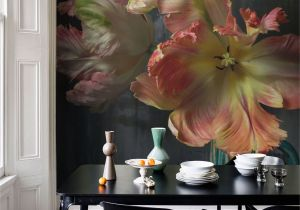 Contemporary Wall Murals Interior Bursting Flower Still Mural by Emmanuelle Hauguel