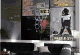 Contemporary Wall Murals Interior Man Cave Interiors Cool Bachelor Pad Living Room with Wall Art