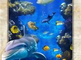 Coral Reef Wall Mural Dophin Chasing Coral Fish Ocean Floor Decals 3d