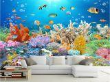 Coral Reef Wall Mural Großhandel Benutzerdefinierte Einzelhandel Korallenriff Goldfisch Tank Hd Tv Hintergrund Wand Meer Low World Coral Hundred Fish Picture Mural Von