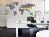 Corporate Office Wall Murals World Map Infographic Wall Sticker