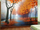 Country Scene Wall Murals Customized Wallpaper 3d Autumn Maple Leaf Natural Scene Wall