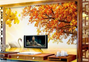 Cowboy Wallpaper Murals Custom Retail Gold Swan Lake sofa Background Wall Sunset West Red