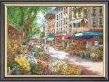Cross Stitch Wall Mural Paris Flower Market Counted Cross Stitch Pattern Pdf