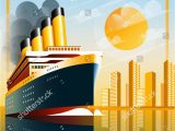 Cruise Ship Wall Mural Art Deco Ship Vector Illustration Passenger Liner In Ocean