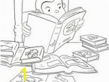 Curious George Printables Coloring Pages Curious George at the Library Printable Coloring Book Page for Kids