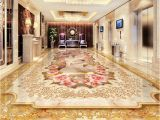 Custom Floor Tile Murals Custom 3d Floor Murals Imitation Marble Flower Pattern Luxury Living
