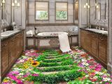 Custom Floor Tile Murals Custom 3d Floor Wallpaper Flowers Road Bathroom Kitchen Bedroom
