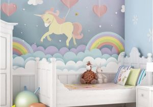 Custom Map Wall Murals by Wallpapered Pink Unicorn Rainbow Nursery Wallpaper Mural I Believe In Unicorns Girls Playroom Wall Covering I Love Unicorns Wallpaper