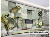 Custom Printed Wall Murals 3d Wall Murals Wallpaper Custom Picture Mural Wall 3d Stereo Birds and Animals 3d Living Room Wallpaper Free Shipping